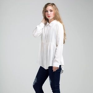 Pin Tuck White long sleeved blouse
